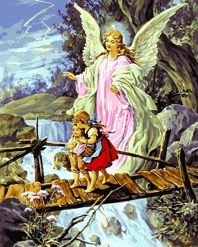 Картины по номерам 40×50 см. Ангел хранитель