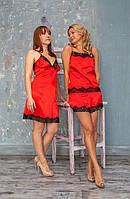 Пижама атласная с шортиками Serenade 483 красно-черный