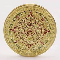 Позолоченная сувенирная монета Ацтеков ''Камень Солнца''