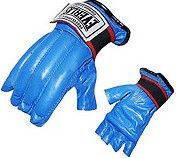 Снарядные перчатки для груши кожаные синие Everlast