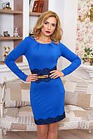 Празднично-нарядное женское платье Кружево  электрик   42-50 размеры