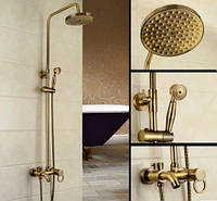 Стойка со смесителем, лейкой и верхним душем бронза в ванную комнату, фото 1