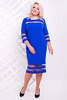 50,52,54,56,58,60 размеры Платье Илария электрик синее женское большого размера вечернее батал