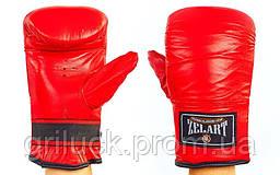 Снарядные перчатки для груши кожаные красные Zelart