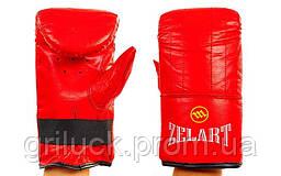 Снарядные перчатки тайского бокса кожаные красные Zelart