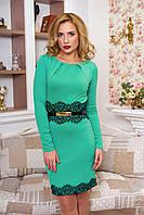 Празднично-нарядное женское бирюзовое платье Кружево   42-50 размеры