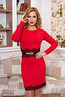 Празднично-нарядное женское красное платье Кружево   42-50 размеры