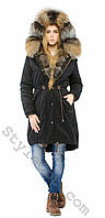 Женская зимняя куртка-парка с натуральным мехом лисы