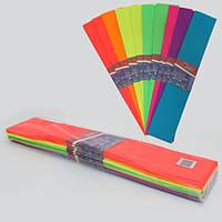 Креп-бумага 30%, флуоресцентный 10лист., mix 7 цветов, 50*200см, 20г/м2