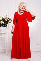 50,52,54,56,58 размеры Платье Алекса, красное женское большого размера батал вечернее трикотажное