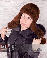 Женская шапка-ушанка из натурального меха (кролик первый сорт)
