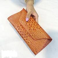 Женский клатч Reptile с 3D тиснением кожаный большой рыжий, фото 1