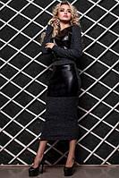 Женское платье Моника с ангоры и квадратные вставки кожа