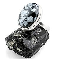 Обсидиан снежный, серебро 925, кольцо, 145КО