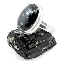 Обсидиан снежный, серебро 925, кольцо, 146КО
