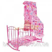 Ліжечко для ляльки металева з балдахіном дитяча Bambi 9349