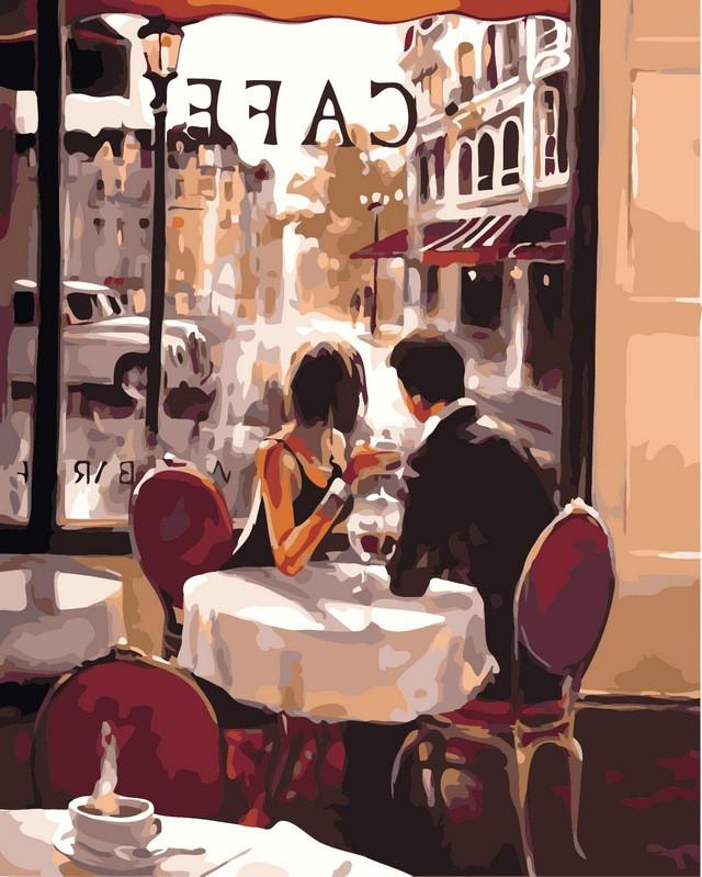 Картины по номерам 40×50 см. Французское кафе Художник Brent Heighton