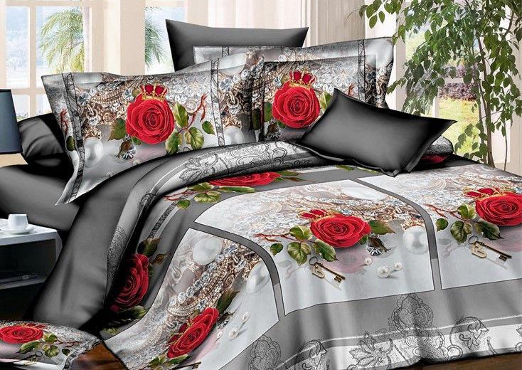Полуторное постельное бельё из бязи Роза