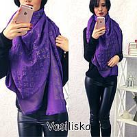 Женский платок LOUIS VUITTON с люрексом  фиолетового цвета