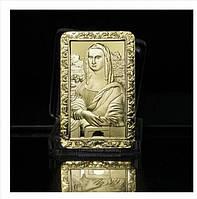 Позолоченный сувенирный слиток Мона Лиза