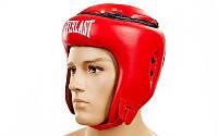 Боксерский шлем тренировочный открытый красный Everlast