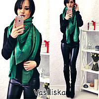 Женский платок LOUIS VUITTON с люрексом  зеленого цвета