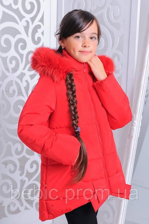 """Куртка детская зимняя """"Бант"""" красный Рост:122-152см"""