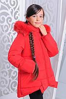 """Куртка детская зимняя """"Бант"""" красный Рост:122-152см, фото 1"""