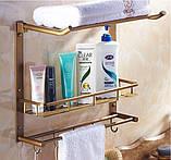 Полочка подвесная бронза настенная с откидным верхом вешалкой в ванную 0305, фото 2