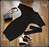 Платье классика летучая мышь 3цвета, с поясом черное