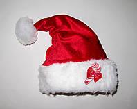 """Новогодняя шапка взрослая Деда Мороза Колпак Санта Клауса Santa Claus  красная """"Конфетка"""", фото 1"""