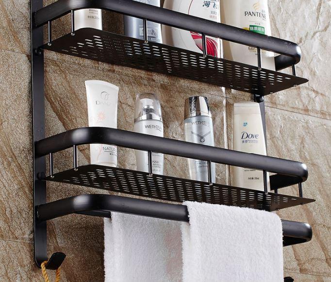 Элитная полка в ванную черная с вешалкой и откидным верхом двухуровневая