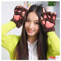 Перчатки молодежные , без пальчиков, цвет коричневый