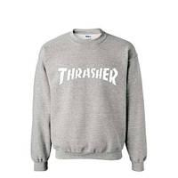 Свитшот серый утеплённый TRASHER белое лого