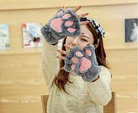 Перчатки молодежные , без пальчиков, цвет серые