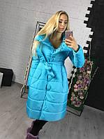 Женская теплая длинная куртка на силиконе голубого цвета