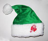 """Новогодняя Шапка Взрослая  Деда Мороза Колпак Санта Клауса Santa Claus  зеленая """"Конфетка"""""""