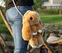 Сумка-рюкзак Кролик Fendi из натурального меха светло-коричневая