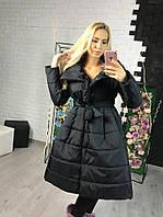Женская теплая длинная куртка на силиконе черного цвета