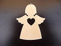 Ангелочек №2, елочная игрушка из дерева, 10 см