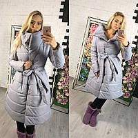 Женская теплая длинная куртка на силиконе серого цвета