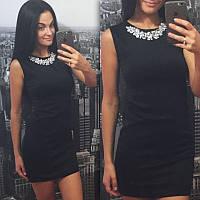 Красивое платье с итальянской фурнитурой - камни черное