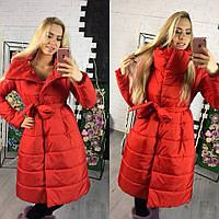 Женская теплая длинная куртка на силиконе красного цвета