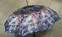 Зонт трость женский прочный на 10 спиц с рисунком города