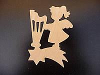 Ангелочек №6, елочная игрушка из дерева, 10 см