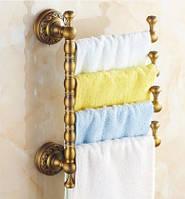 Вешалка в ванную для полотенец бронза Деко четырех уровневая, фото 1