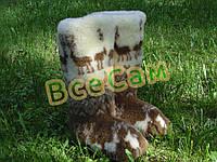 Чуни мужские из шерсти мериносовой овчины высокие до колен с узором «Олени скандинавские»