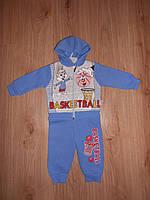 """Теплый трикотажный утепленный костюм двойка """"Basketball"""" для мальчика примерно 6-9месяцев"""