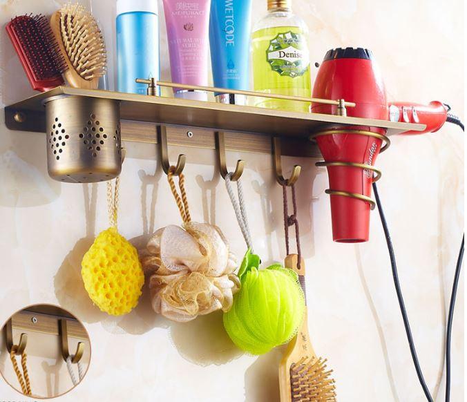 Полка бронза в ванную комнату с крючками и отделением для фена 0307