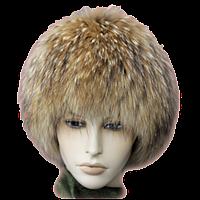 Зимняя шапка парик из меха енота